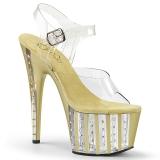 Guld 18 cm ADORE-708VLRS platå klackar skor med strass stenar