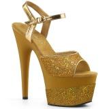 Guld 18 cm ADORE-709-2G glitter platå high heels