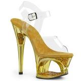 Guld 18 cm MOON-708GFT glittriga platå sandaler skor