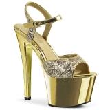Guld 18 cm Pleaser SKY-310SQ Paljetter platå klackar skor