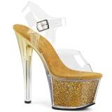 Guld 18 cm SKY-308G-T glittriga platå sandaler skor