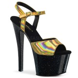 Guld 18 cm SKY-309HG Hologram platå klackar skor