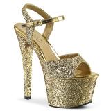 Guld 18 cm SKY-310LG glittriga platå klackar skor