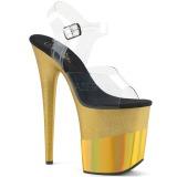 Guld 20 cm FLAMINGO-808-2HGM glittriga platå sandaler skor
