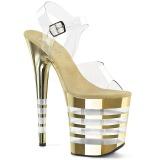 Guld 20 cm FLAMINGO-808CHLN Högklackade sandaler krom platå