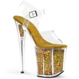 Guld 20 cm FLAMINGO-808GF glittriga klackar platå klackar skor