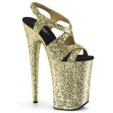 Guld 23 cm INFINITY-930LG glittriga klackar platå klackar skor