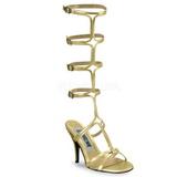 Guld 8 cm ROMAN-10 knähöga gladiator sandaler för damer