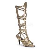 Guld 9 cm GODDESS-12 knähöga gladiator sandaler för damer