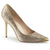 Guld Glitter 10 cm CLASSIQUE-20 spetsiga pumps med stilettklackar