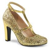 Guld Glitter 10 cm QUEEN-01 stora storlekar pumps skor