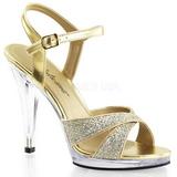Guld Glitter 12 cm FLAIR-419G Höga Klackar Skor för Män