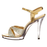 Guld Glitter 12 cm FLAIR-419G Högklackade Dam Sandaletter