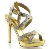 Guld Glitter 12 cm LUMINA-21 Höga Fest Sandaler med Klack