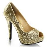 Guld Glitter 13,5 cm TWINKLE-18G Höga Platåpumps Peep Toe