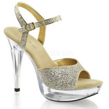 Guld Glitter 13 cm COCKTAIL-509G Platå Högklackade Sandaler Skor
