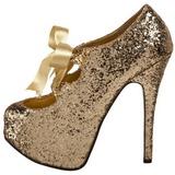 Guld Glitter 14,5 cm Burlesque TEEZE-10G Platform Pumps Skor