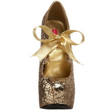 Guld Glitter 14,5 cm TEEZE-10G Platform Pumps Skor