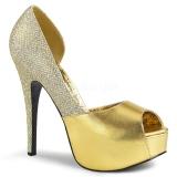 Guld Glitter 14,5 cm TEEZE-41W pumps för män med breda fötter