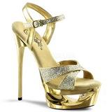 Guld Glitter 16,5 cm Pleaser ECLIPSE-619G Höga Stilettklackar Platå