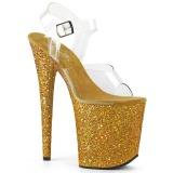 Guld Glitter 20 cm FLAMINGO-808LG Platå Högklackade Sandaler Skor