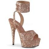 Guld Glittra 15 cm DELIGHT-691LG högklackade skor med ankelband
