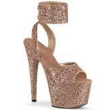 Guld Glittra 18 cm ADORE-791LG högklackade skor med ankelband