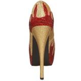 Guld Glittrande Stenar 14,5 cm Burlesque TEEZE-27 damskor med hög klack