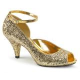 Guld Glittrig 7,5 cm BELLE-381G dam pumps skor med öppen tå