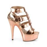 Guld Konstläder 15 cm DELIGHT-658 pleaser skor med höga klackar