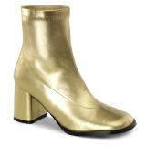 Guld Konstläder 7,5 cm GOGO-150 stretch ankleboots med blockklack till kvinnor