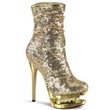 Guld Paljetter 15,5 cm BLONDIE-R-1009 pleaser platåstövletter - högklackade boots