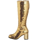 Guld Paljetter 8 cm SPECTACUL-300SQ Stövlar Dam