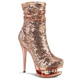 Guld Rosa Paljetter 15,5 cm BLONDIE-R-1009 pleaser platåstövletter - högklackade boots