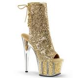 Guld glitter 18 cm ADORE-1018G dam stövletter med platåsula