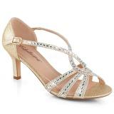 Guld glittrig 6,5 cm Fabulicious MISSY-03 högklackade sandaletter