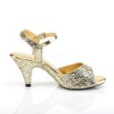Guld glittrig 8 cm Fabulicious BELLE-309G högklackade sandaletter