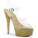 Guld glittriga 15 cm Pleaser DELIGHT-608HG pole dance skor