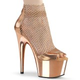Guldfärgade högklackade skor 18 cm ADORE-765RM glittriga högklackade platåskor