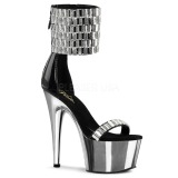 High Heels Glittering Stones 18 cm ADORE-789RS Chrome Platform