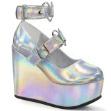 Hologram 12,5 cm POISON-99-2 wedge platform pumps