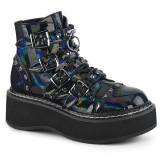 Hologram 5 cm DEMONIA EMILY-315 goth ankle boots with buckles