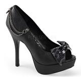 Konstläder 13,5 cm PIXIE-16 dam pumps skor med öppen tå