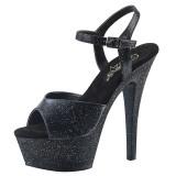 Konstläder 15 cm Pleaser KISS-209MMG glitter platå klackar skor