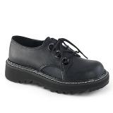 Konstläder 3 cm LILITH-99 Svarta punk skor med snörning