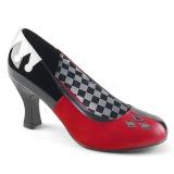 Konstläder 7,5 cm HARLEY-42 Pinup pumps skor med låg klack