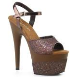 Koppar 18 cm ADORE-709-2G glitter platå high heels