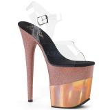 Koppar 20 cm FLAMINGO-808-2HGM glittriga klackar platå sandaler skor
