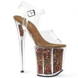 Koppar 20 cm FLAMINGO-808GF glitter platå klackar skor