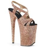 Koppar 23 cm INFINITY-930LG glittriga platå klackar skor